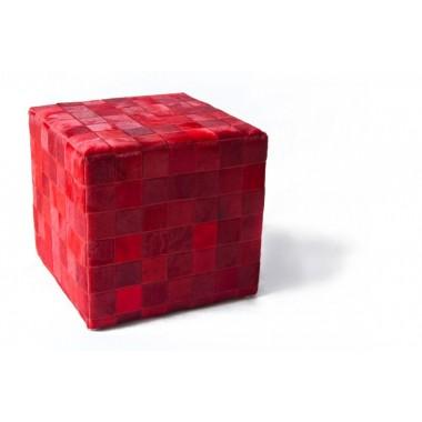 δερμάτινο σκαμπό πούφ Κόκκινο rosso - pony skin