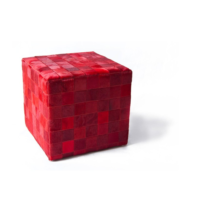 cowhide cube pouf cover* red rosso