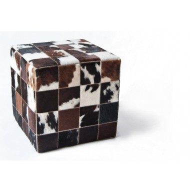 cowhide cube cover* brown white wh  - pony skin