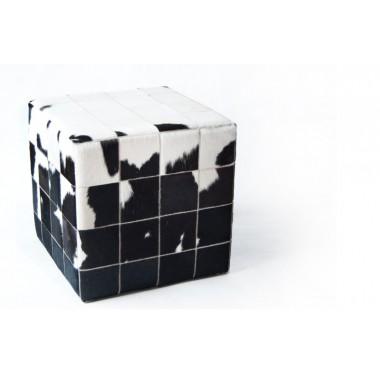 δερματινο σκαμπο πουφ white black άσπρο μαύρο