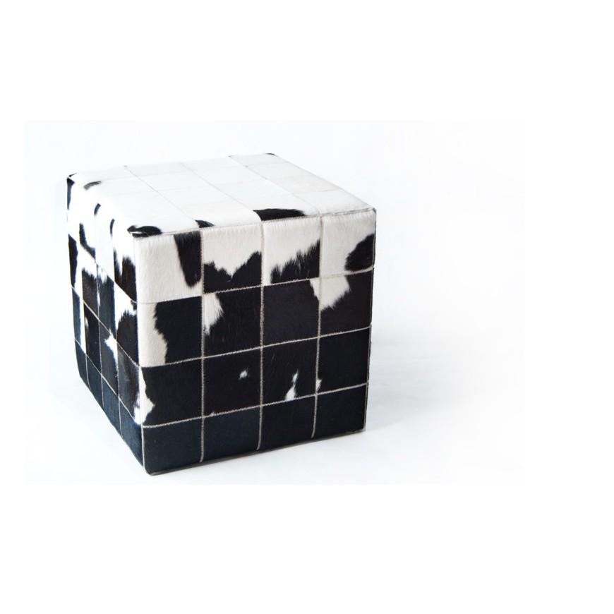 δερματινο σκαμπο πουφ white black