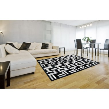 patchwork cowhide rug k-1735 night air nero grey-white