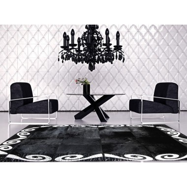 patchwork cowhide rug k-155 art 1 black-silver