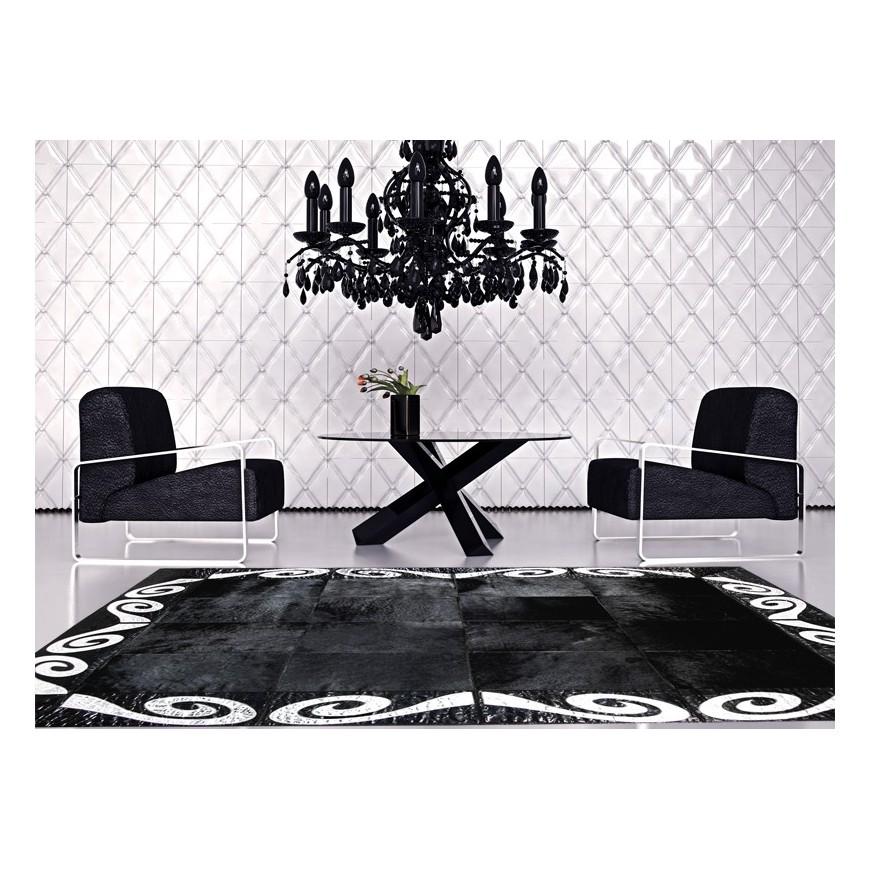 patchwork cowhide rug K-155 black silver