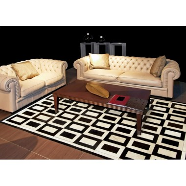 patchwork cowhide rug k-1736 square cognac-light beige