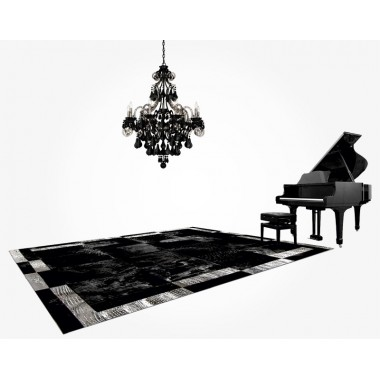 patchwork cowhide rug k-18 nero horsy double frame silver