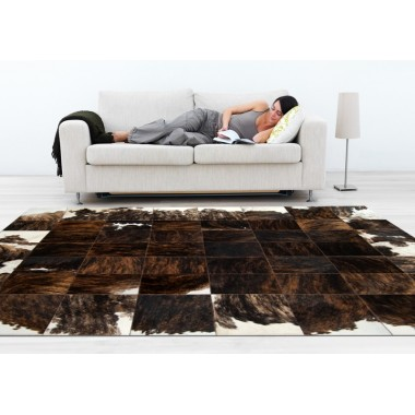 patchwork cowhide rug k-156 medium brown