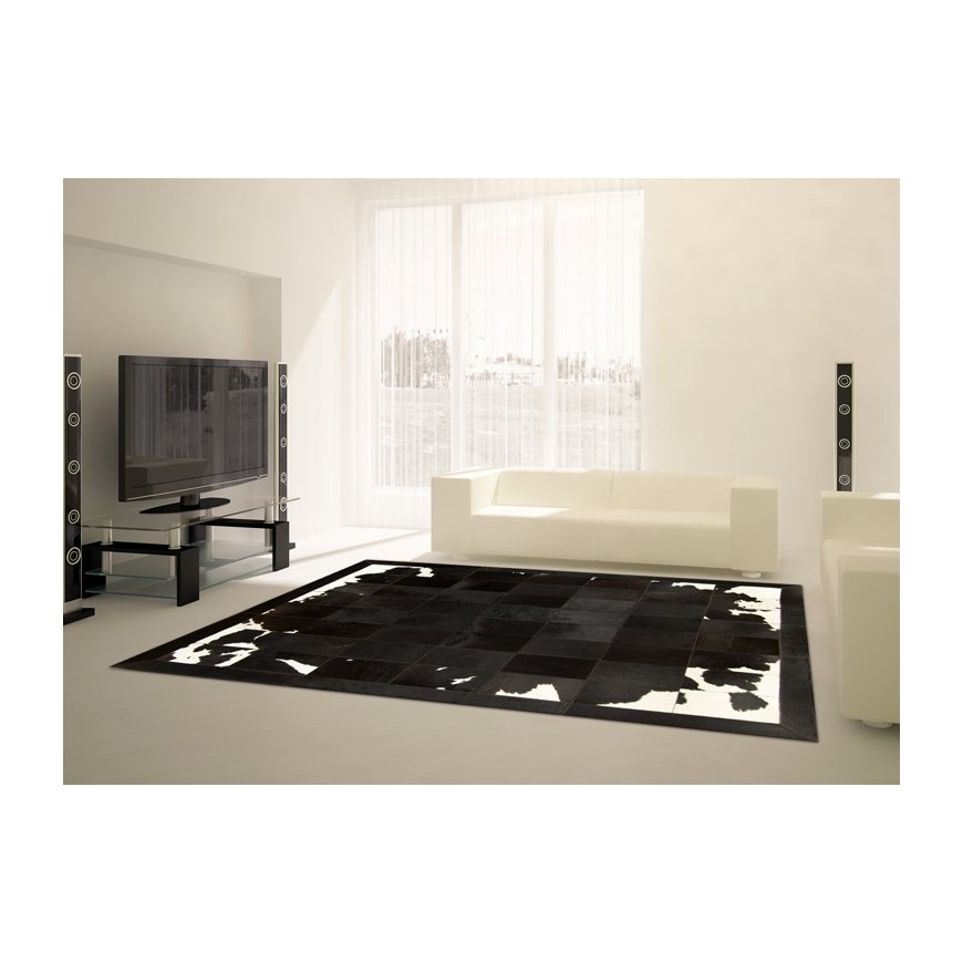 patchwork cowhide rug k-1700 black-brown-white