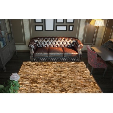 Fur rug k-1799 red fox frame cognac cavallino