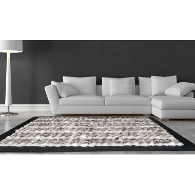 Fur rug k-1869 fox white - grey frame croco nero
