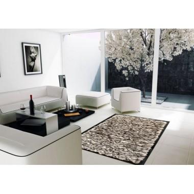 Fur rug k-1733 fox grey frame black