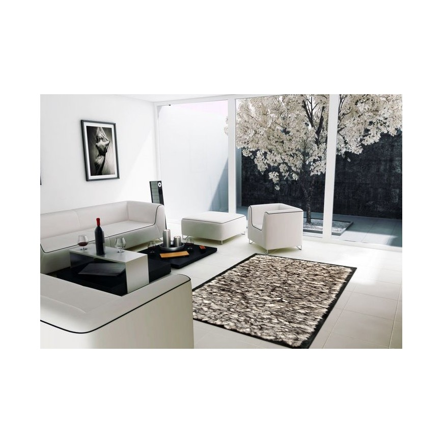Fur rug k-1733 fox grey frame black