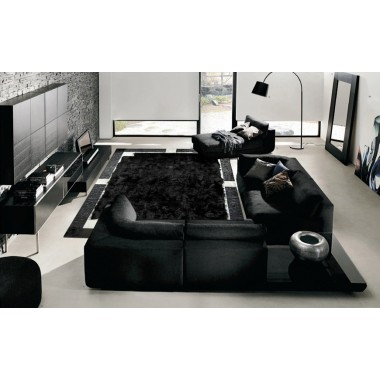 Fur rug sofia nero toscani
