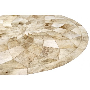 patchwork cowhide rug CIRCLE DIAMOND LIGHT BEIGE
