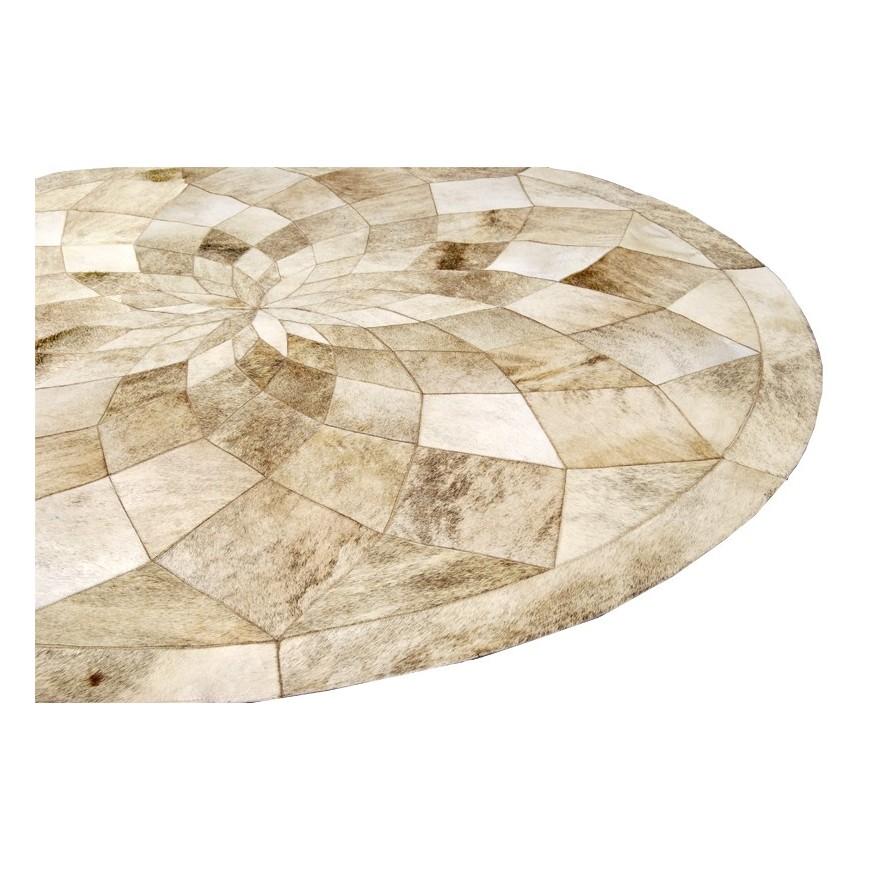 στρογγυλο δερματινο χαλι circle diamond beige