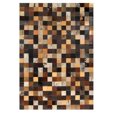 patchwork cowhide rug k-1857 mosaik multicolour brown