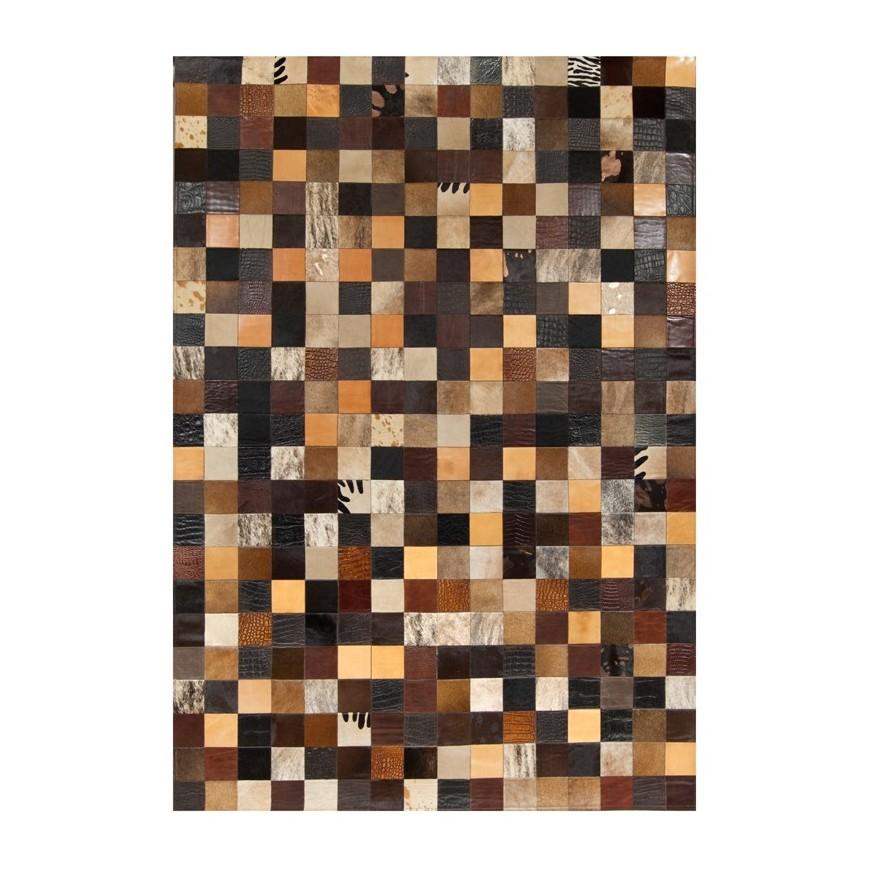 δερματινο χαλι k-1675 mosaik multicolor brown