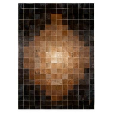 Patchwork Kuhfell Teppich K-1825 Mosaik Baio Cognak