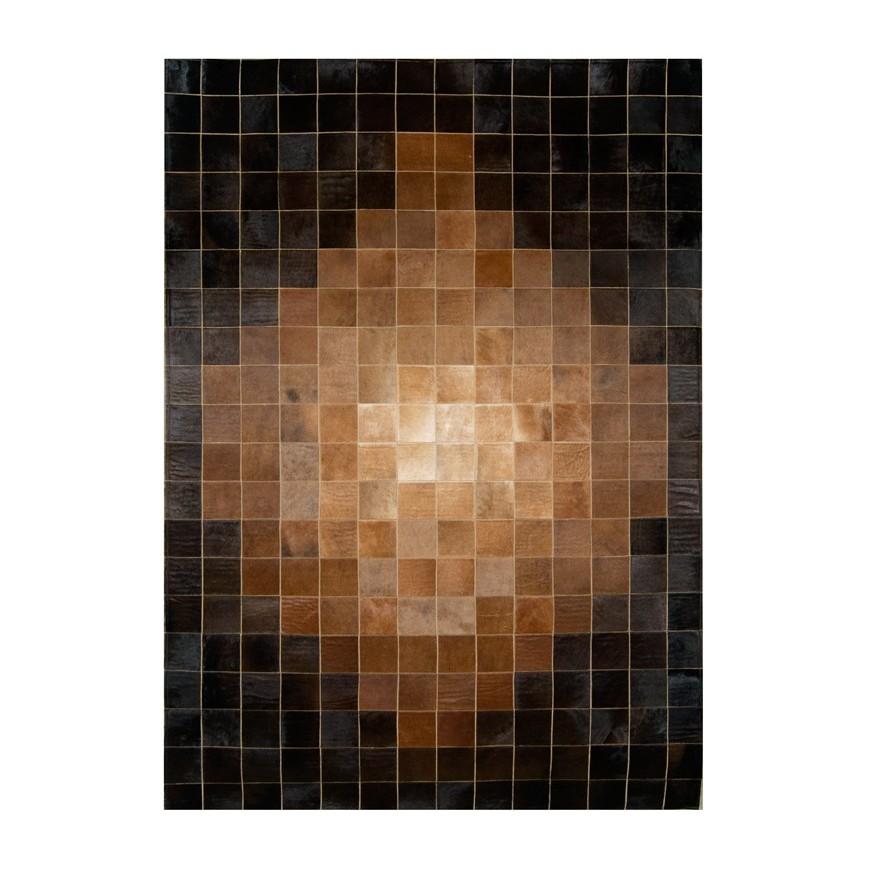 patchwork cowhide rug k-1825 mosaic beige-brown
