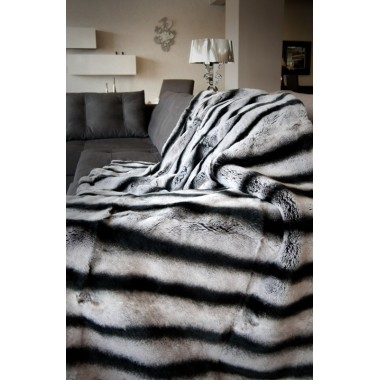 Chinchila Rex Rabbit  Fur Blanket 140 x 200 cm
