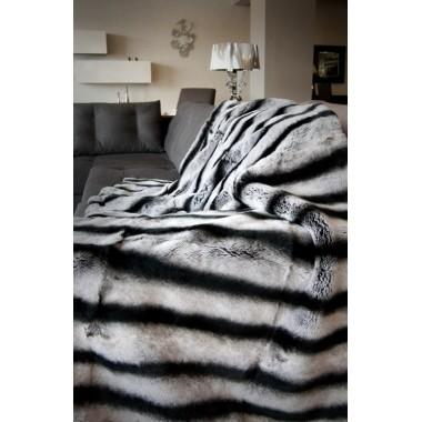 Chinchila Rex Rabbit  Fur Blanket 140 x 200 cm