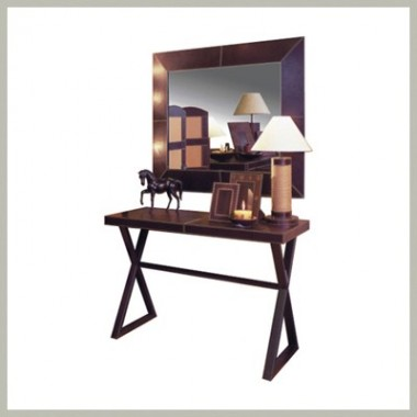 Console table with miror Chestnut leather
