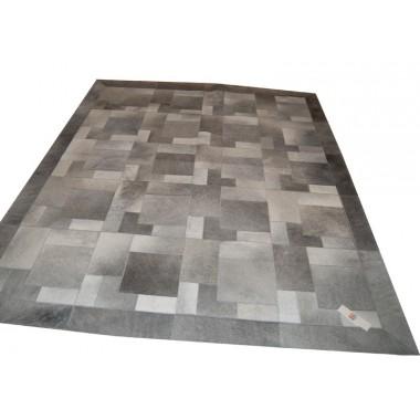 patchwork cowhide rug k-1978 puzzle light grey