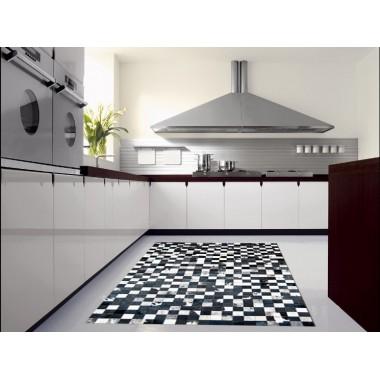 hide rug multicolour black- white in 6 x 6 cm panels