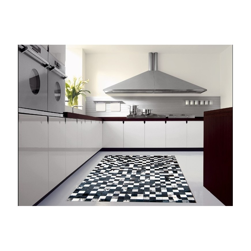 hide rug multicolour black- white modern setting