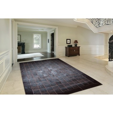 hide rug crocco leather dark brown (t.moro) in 10 x10 cm panels with frame