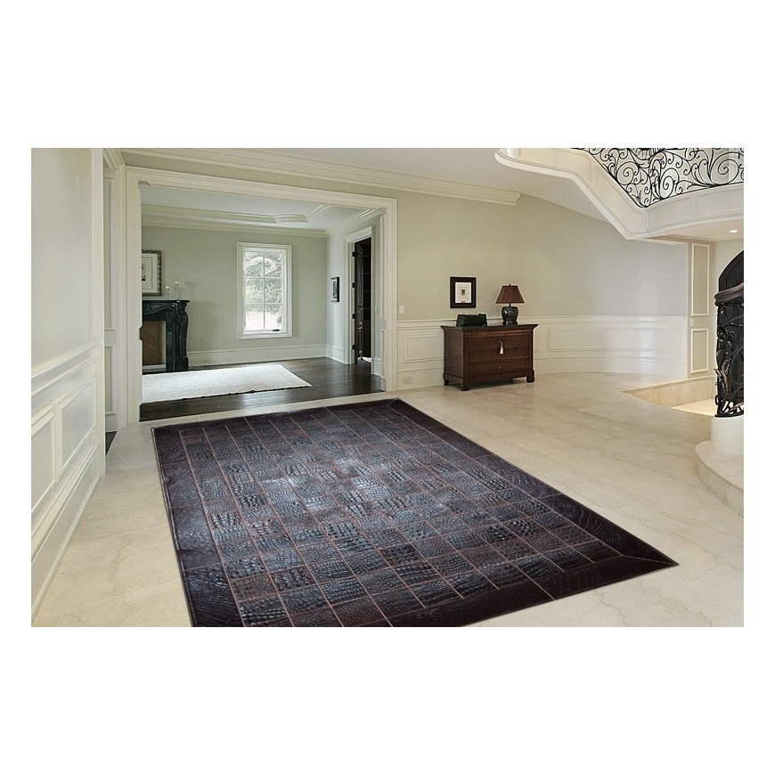 hide rug crocco leather dark brown place