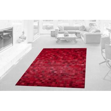 Patchwork Kuhfell Teppich K-1596 Mosaik Rot