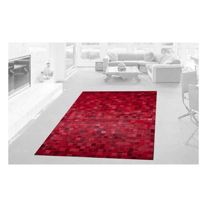 patchwork cowhide rug k-1596 mosaik rosso