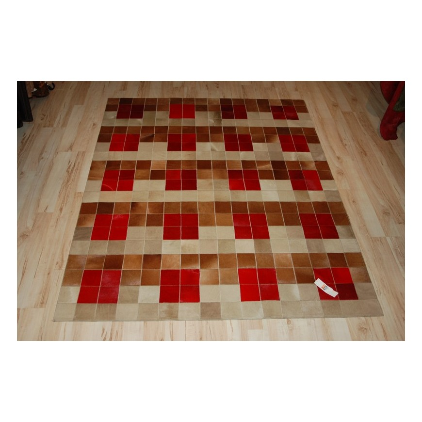 hide rug in colours baio capuccino rosso (red)