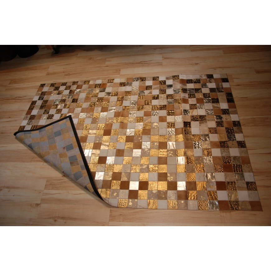 hide rug multicolour gold 1