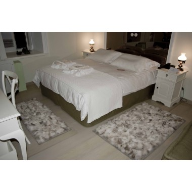 natural real wolf bedroom rugs set