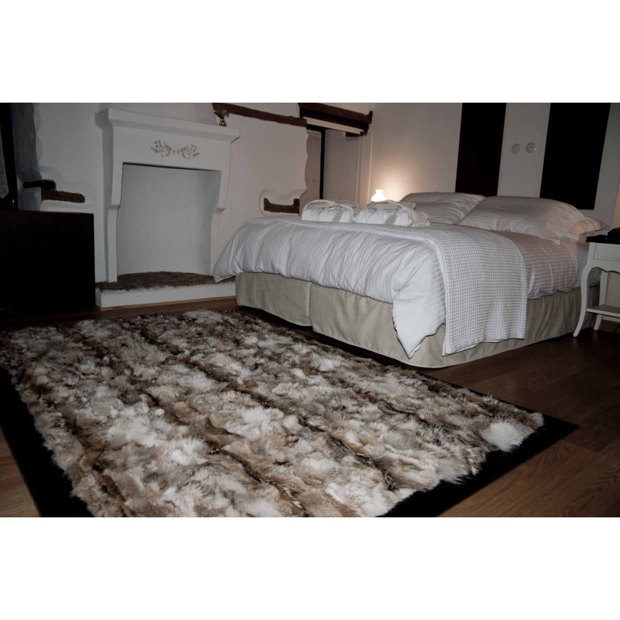 coyote natural fur rug