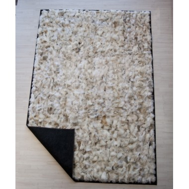 Real Fur rug wolf light beige white frame cognac pony
