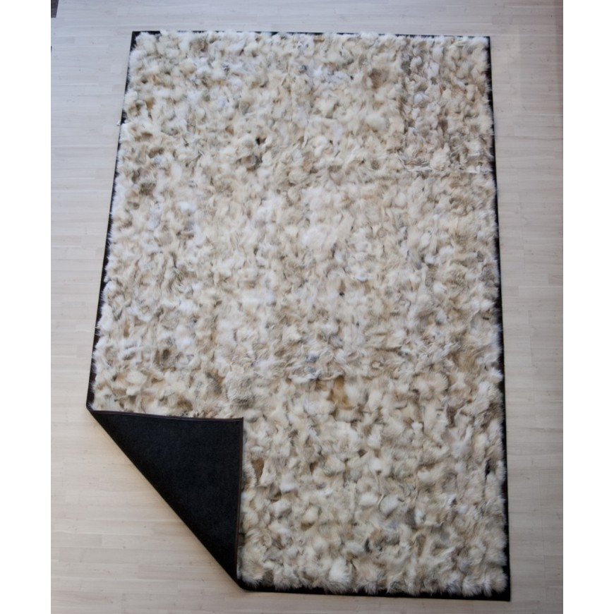 Real Fur rug wolf light beige frame cognac pony