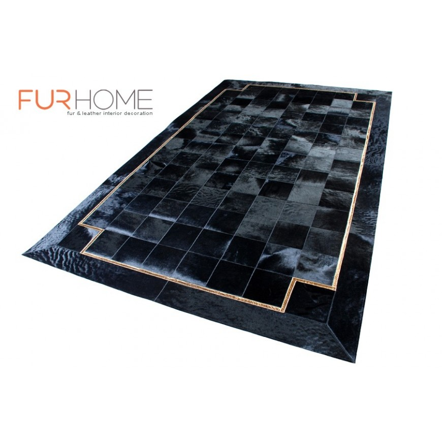 Black hide rug panels 20 golden croco line
